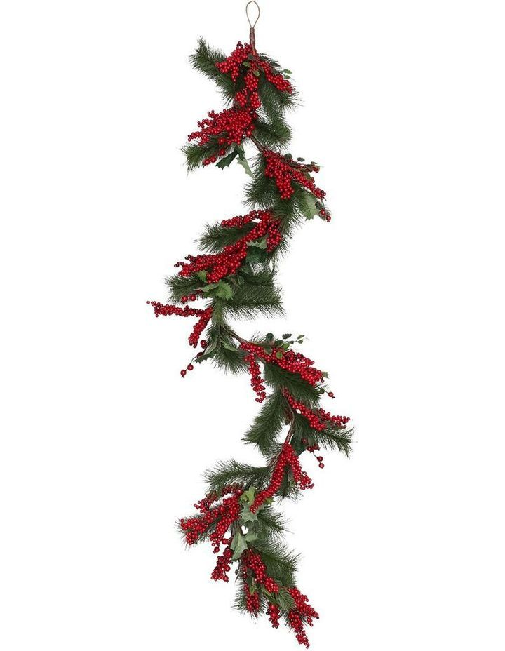 Myer Giftorium Heirloom 168cm Traditional Leaves Red Berries Garland Myer Leaf Wreath Design Red Berries Wreath Designs