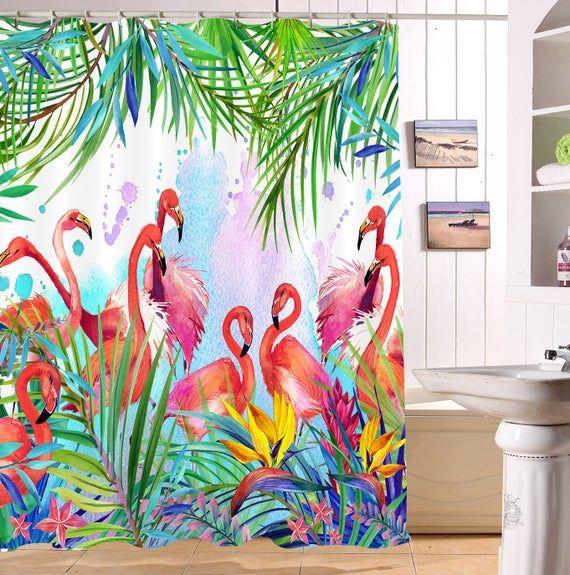 Waterproof Tropical Flamingo Bird Shower Curtain Bathroom Set Decor Mat Hooks