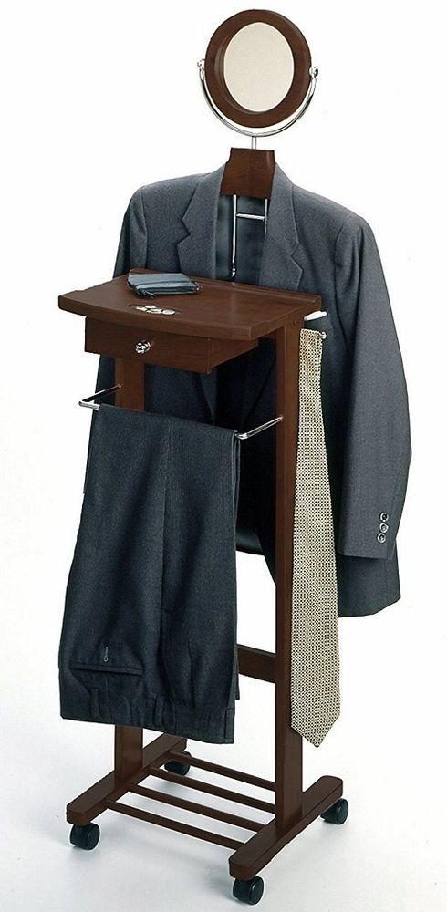 Clothes Valet Stand Mens Wardrobe Wood Organizer Coat Suit Butler Rack Mirror #ClothesValetStand