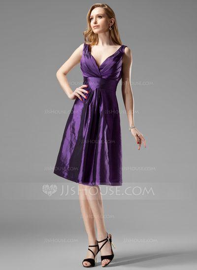 Bridesmaid Dresses - $89.99 - A-Line/Princess V-neck Knee-Length Taffeta Bridesmaid Dress With Ruffle (007004123) http://jjshouse.com/A-Line-Princess-V-Neck-Knee-Length-Taffeta-Bridesmaid-Dress-With-Ruffle-007004123-g4123