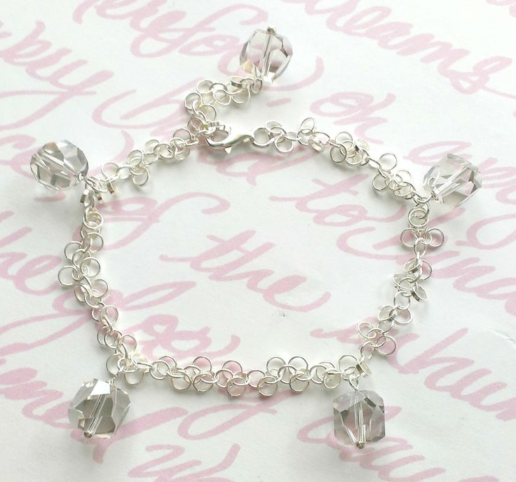 Custom Bracelet for Sara's Sister Sterling silver + Swarovski crystals www.aebumble.com