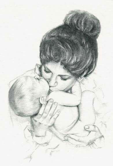 Картинки мать и ребенок нарисованные, бумаги
