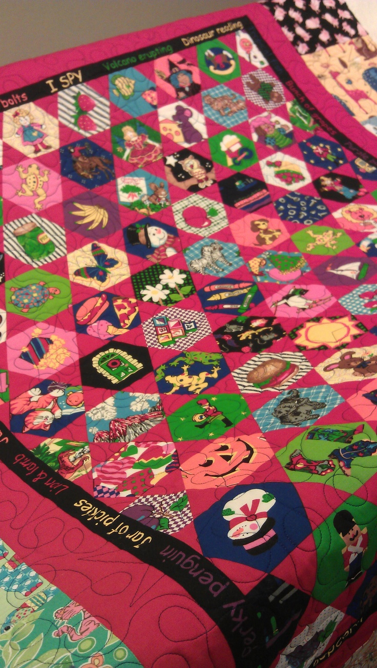 A fun I Spy quilt, this is so a cheater panel ... who knew?