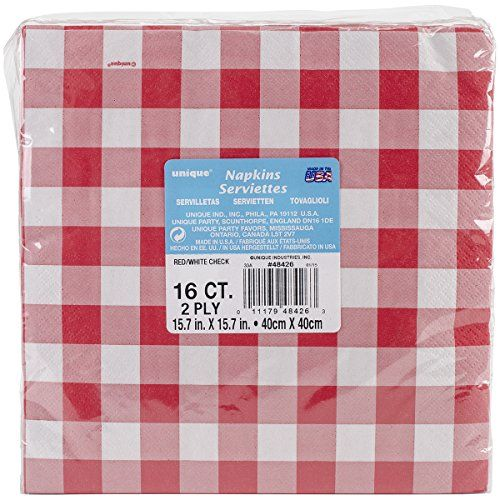 Red and White Gingham Party Napkins 16ct * Check this awesome product by going to the link at the image.