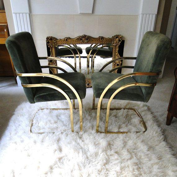 Reserved Vintage Chair Velvet Golden Tubular Brass Art Deco Cantilever Hollywood Regency Glam