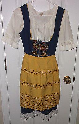 Dirndl-Rose-Dress-Heidelberg-German-Vintage-Dress-Blouse-Apron-Size-38-1973
