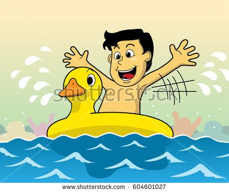 vector illustration children love to swim and play water with swimming yellow duck swimming float