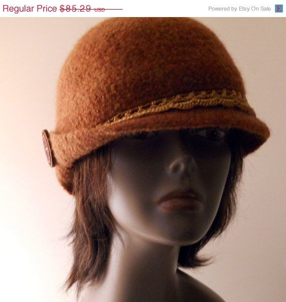 Christmas In July Sale Womens Felted Cloche Hat By