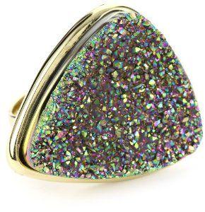 ANDARA Triangle Peacock Drusy Ring, Size 8 ANDARA. $125.00