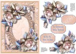 Perzik bloemen en Pearl Frame,