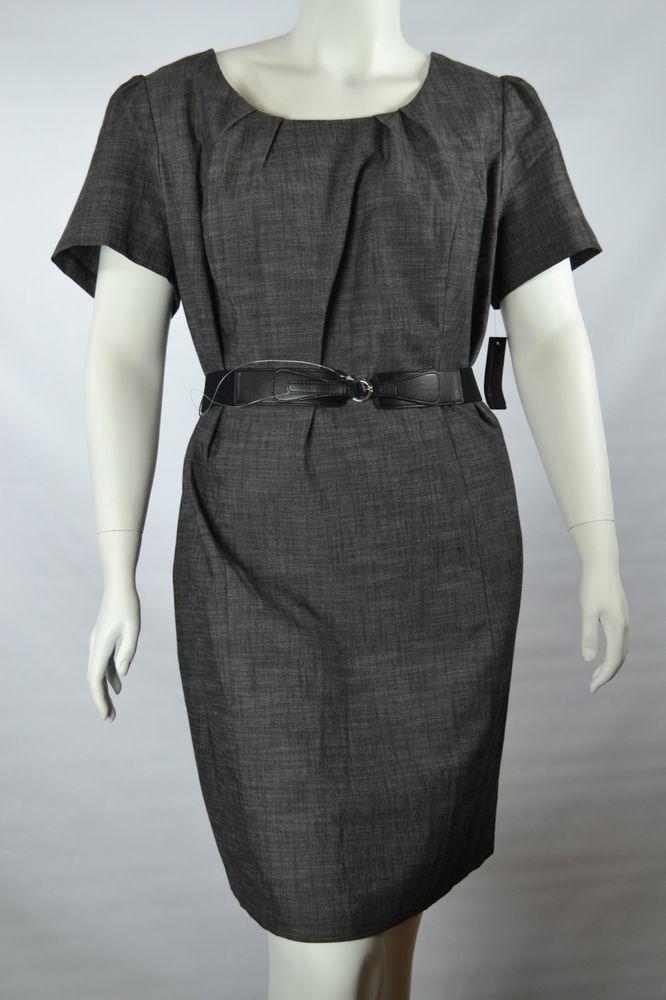 AGB SheathDress PlusSize 24WGrayPleated Scoop Neck Short Sleeve Stretch Belt #AGB #officewear #careerwear