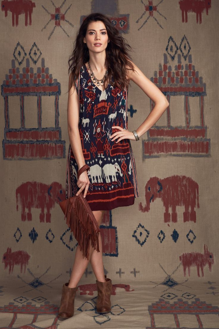 Inspired by ikat! Doyah Elephant Ikat Printed Silk Dress | Calypso St. Barth. With sandals and a different bag.