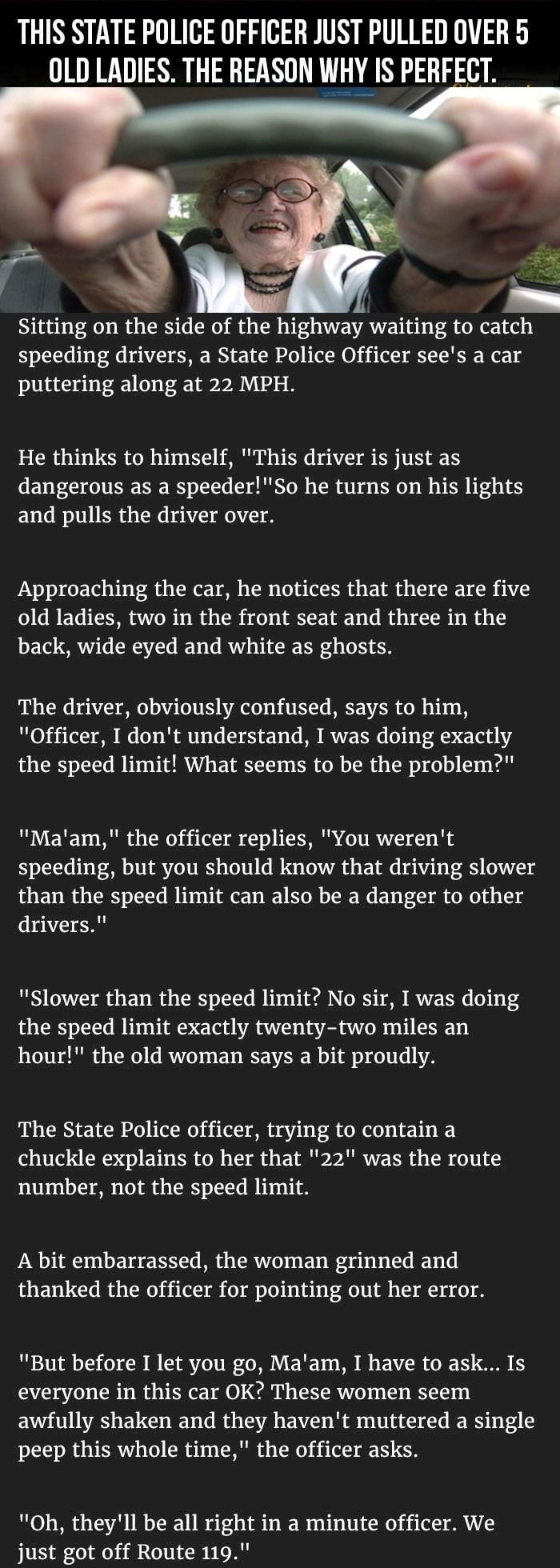 LOL - This State Officer Pulled Over 5 Old Ladies The Reason Why Is Perfect funny quotes quote jokes story lol funny quote funny quotes funny sayings joke humor stories