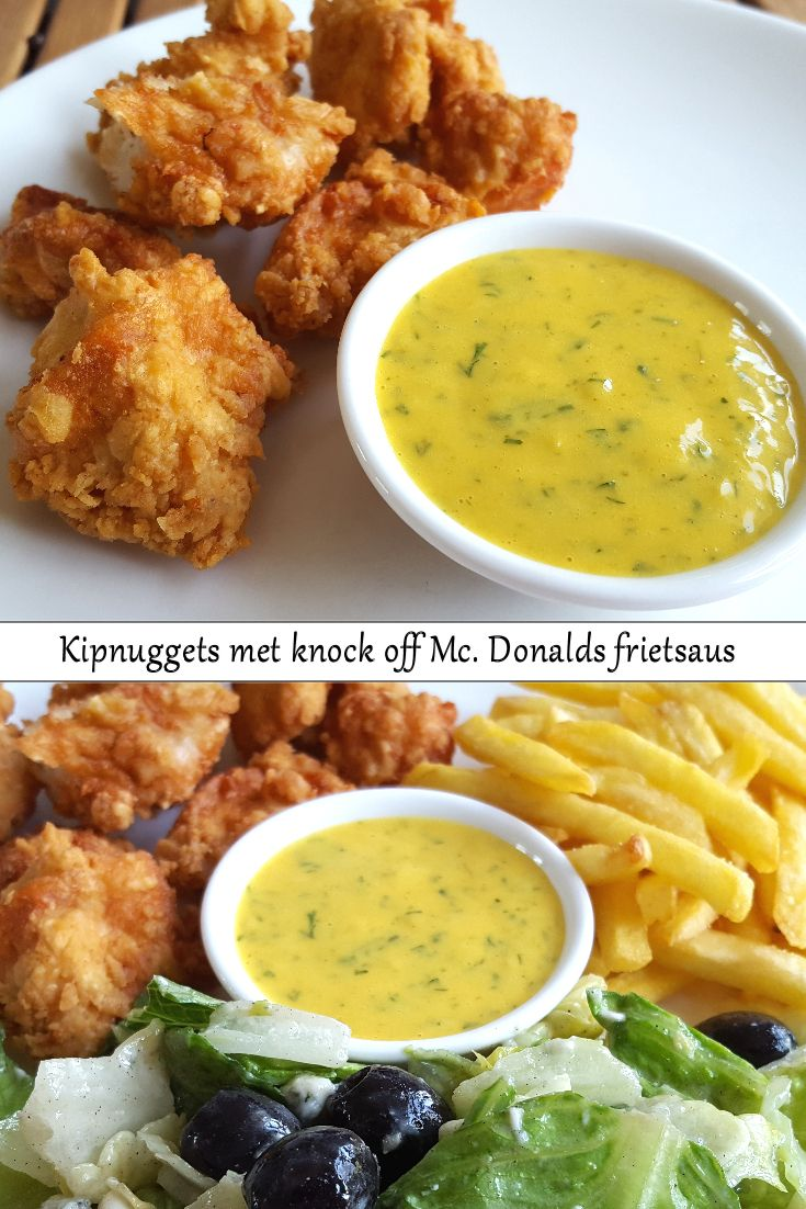 Recipe in Dutch: Out Juniors Keuken: kip nuggets met knock off McDonalds frietsaus