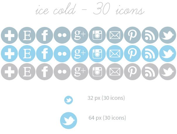 Freebie: Set of 30 Social Media Icons (3 colors / 2 sizes) in Winter colors