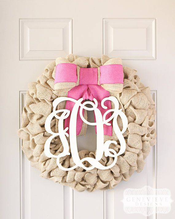 Personalized Baby Girl Gift, Baby Gifts, Girl Baby Shower Decorations, Hospital Door Baby Wreath - Interchangeable Initials & Bow