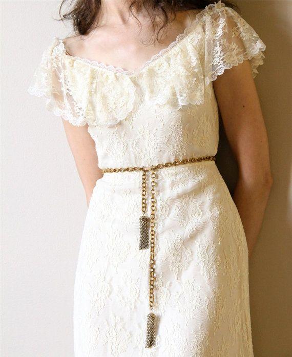 70s boho wedding dress vintage off white ivory cream for Simple cream wedding dresses