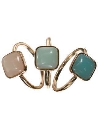 Accessorize - Set di anelli impilabili con pietre squadrate