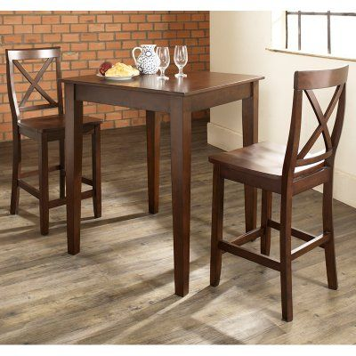 Crosley 3-Piece Pub Dining Set with Tapered Leg and X-Back Stools - KD320005MA