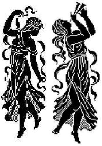 """Filet Dancers Pattern PS015 - Years ago I bought a very old set of filets crochet patterns from Paris, called """"Le Filet Ancien"""" Au Point De Repries, Wolf & Dupeyron editors. It was ancient all right -"""