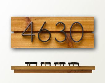 Modern House Numbers - Natural Cedar