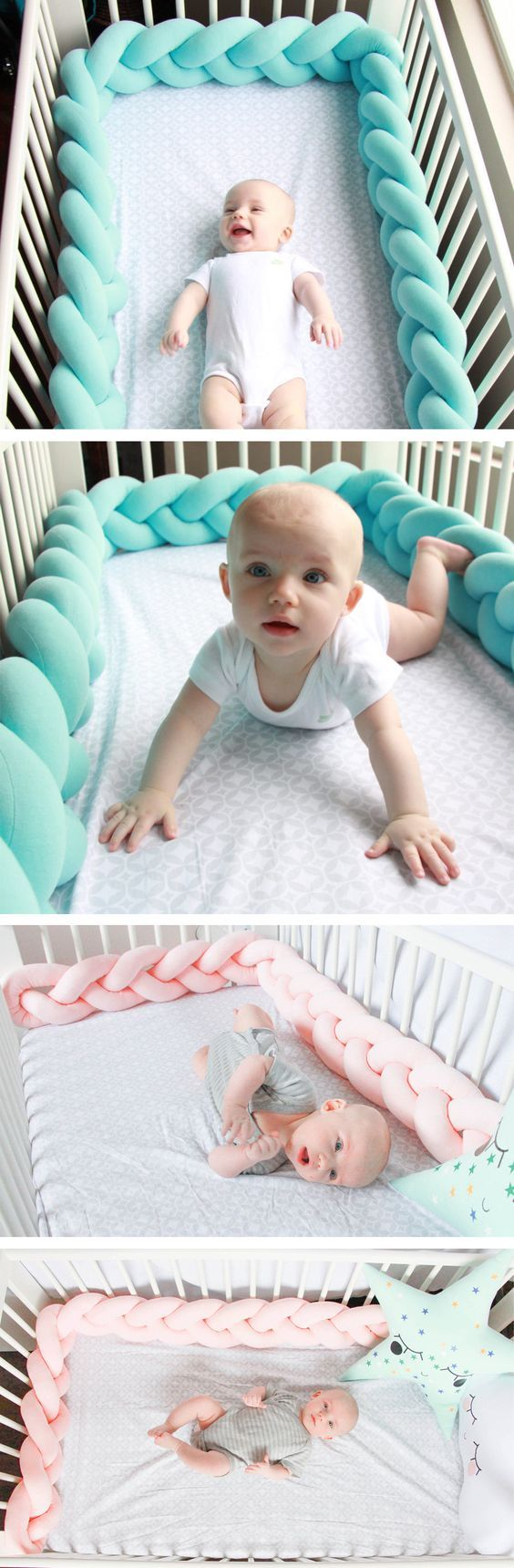 Pretty Braided Baby Crib Bumper