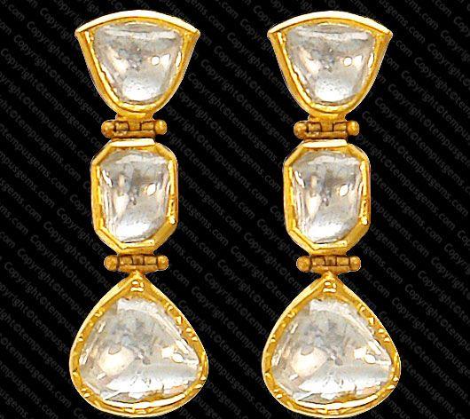 Polki Diamond and Gold Earrings