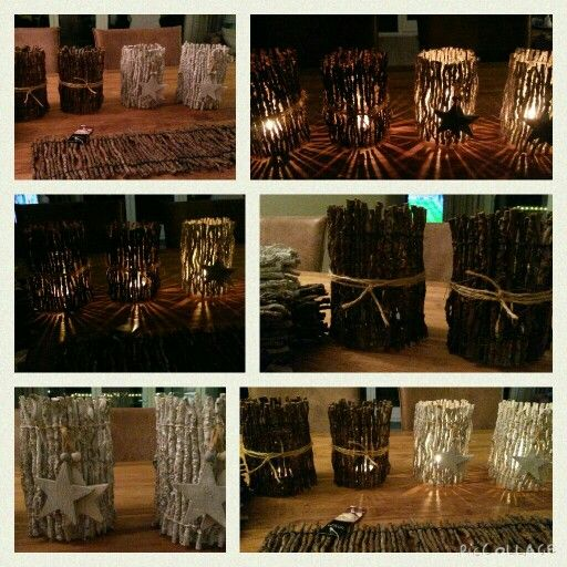 Candle decorations made of wooden table runners