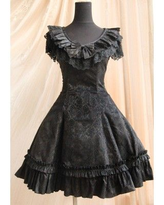 Black Gothic Style Lolita One Piece Dress from Infanta $67.99 - Lolita Jumpers- Lolita Dresses - My Lolita Dress