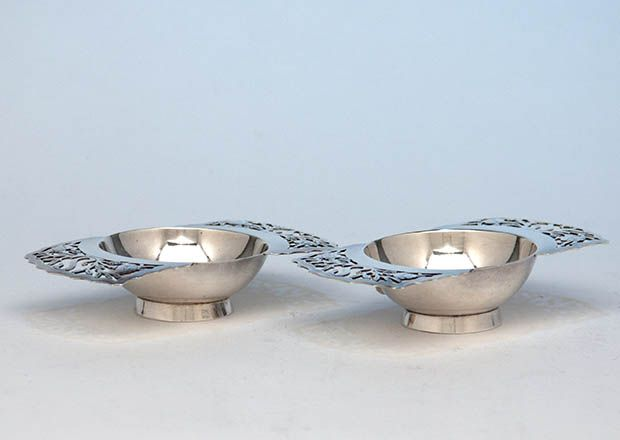 Two Pair of Stavre Gregor Panis Sterling Silver Salt Dishes, Falmouth, Massachusetts, c. 1930's