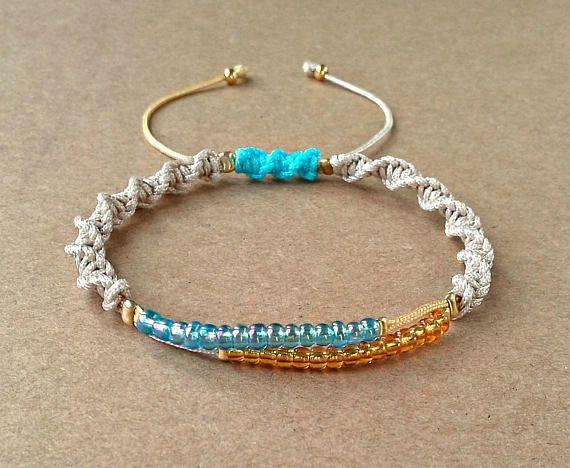 Seed Bead Bracelet Dainty Jewelry Spiral Macrame Bracelet