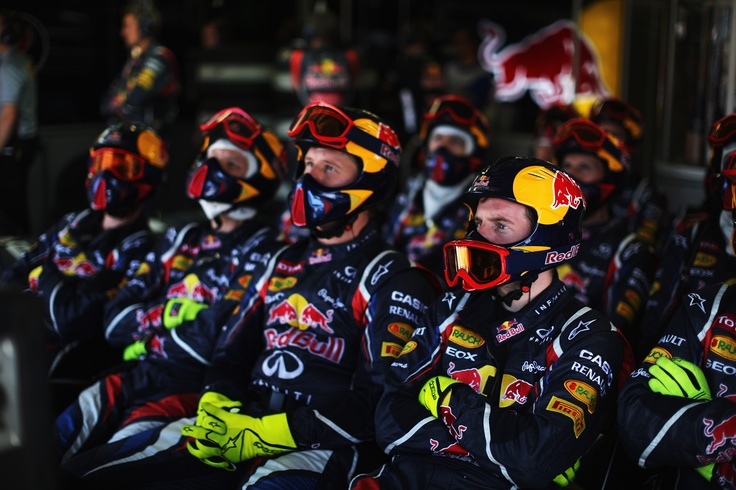 team Red Bull Racing - Renault | watching the action from the garage.