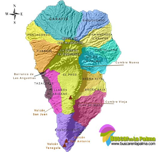 Mapa Municipios La Palma.Pin En Islas Canarias