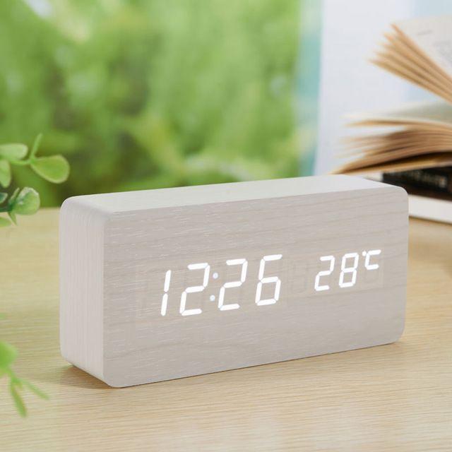Cubo Controle de Voz Relógio De Madeira alarme madeira temperatura relógio digital levou despertador Relógio de mesa Eletrônico Nixie Relógio Despertador de Cabeceira