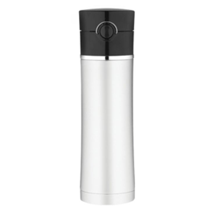 Thermos Sipp Vacuum Insulated Drink Bottle - 16 oz. - Stainless Steel-Black. Sipp Plum Vacuum Insulated Drink Bottle - Stainless Steel/BlackPart #: NS402BK4Features:  Thermos vacuum insulation technology for maximum temperature retention, hot or cold  Locking, hygenic, push button lid with one-handed operation is made with BPA-free Eastman Tritan copolyester to resist stains and provide durability  Smooth flow design helps control the flow of warm liquids  Unbreakable stainless steel…
