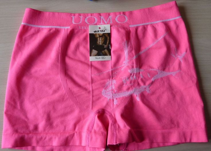 Boxer caleçon short sous vetement homme Rose Fluo motif T: M/L 38/40 neuf Bixtra