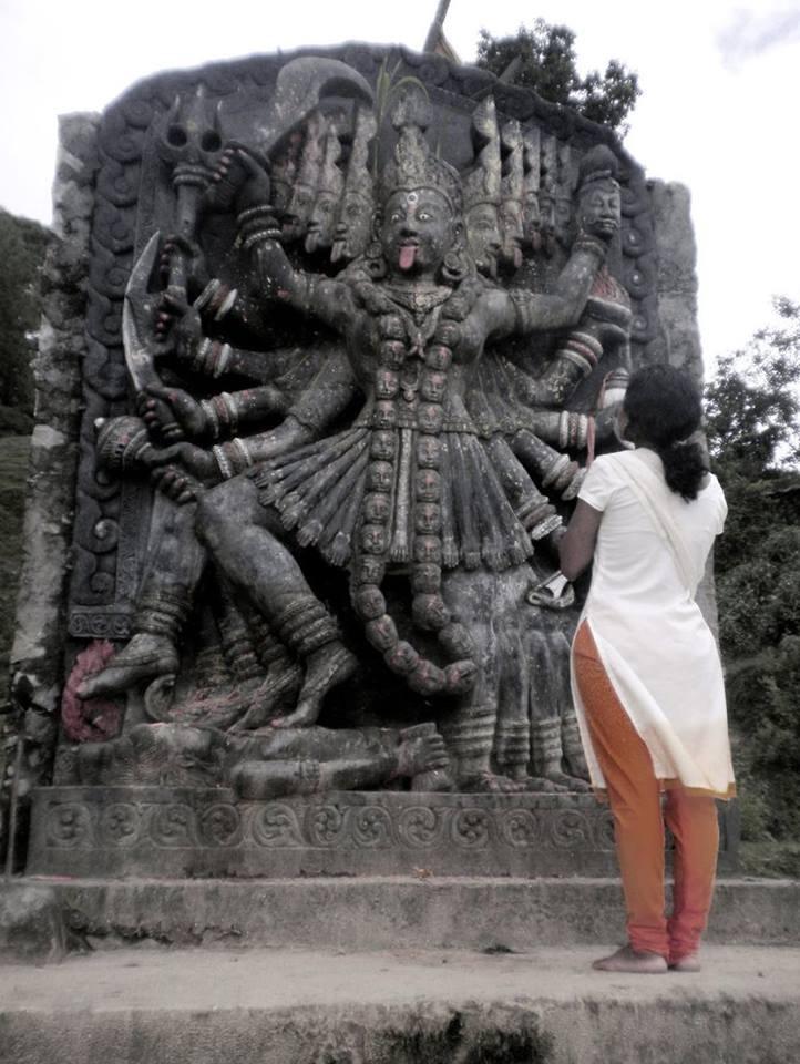 10 feet tall idol of Goddess Kali Mata at Tokha, Nepal.