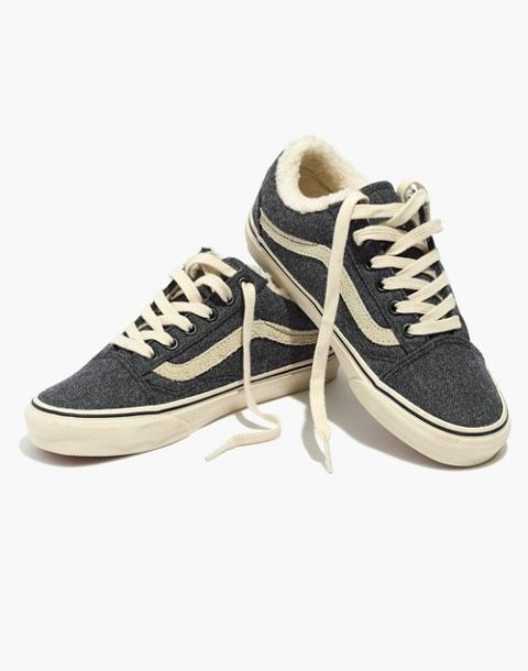 d637d943a1 Madewell x Vans® Unisex Old Skool Lace-Up Sneakers in Flannel and Sherpa in  black true white image 1