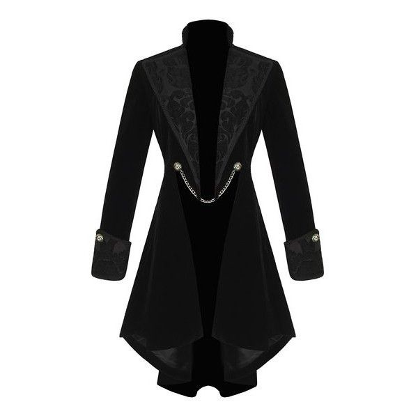 Pentagramme Womens Gothic Jacket Coat Black Velvet Steampunk VTG... ($115) ❤ liked on Polyvore featuring outerwear, jackets, coats, coats & jackets and fantasy
