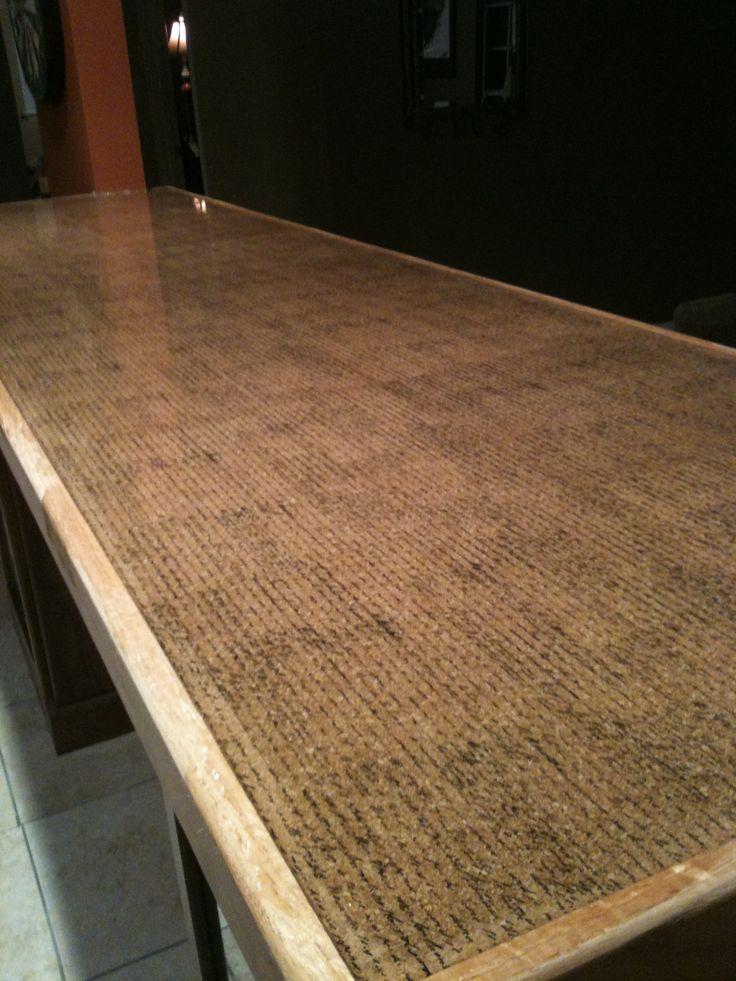 Diy bar top cork peel scrapbook sheets frame it pour on for Cork bar top