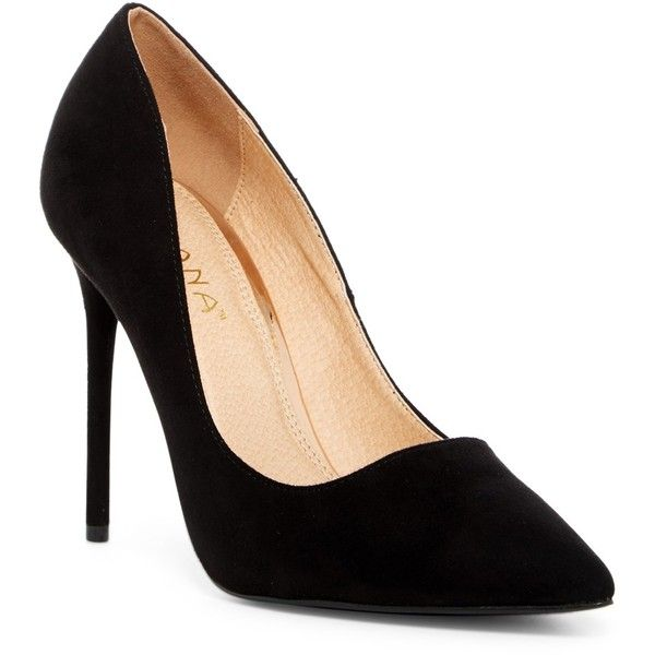 LILIANA Vitto Pump (£19) ❤ liked on Polyvore featuring shoes, pumps, heels, black, slip on pumps, slip-on shoes, black pointed toe shoes, black heel pumps and pointed toe shoes