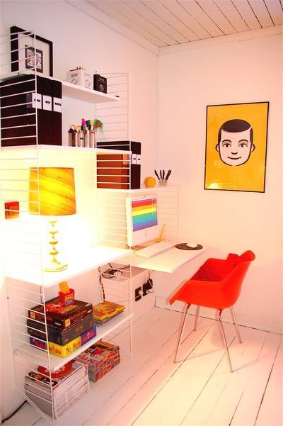 beautiful little space, light & tight & stylish, thanks to string shelves