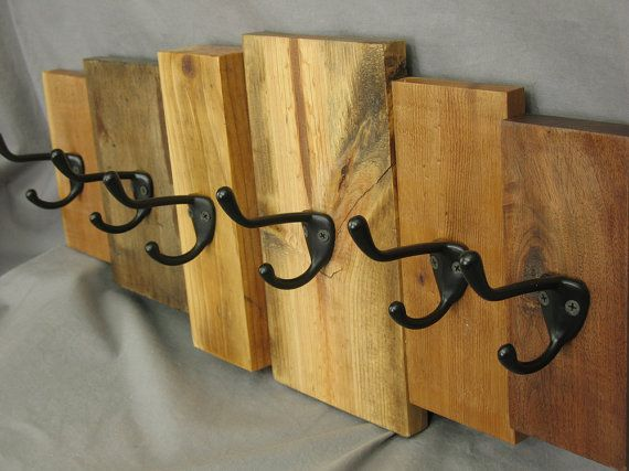 Wooden Coat Rack Rustic Wall Art Reclaimed Wood Cabin Decor Wall Mounted Key Rack Coat Hooks Matte Black Hooks Entryway Decor
