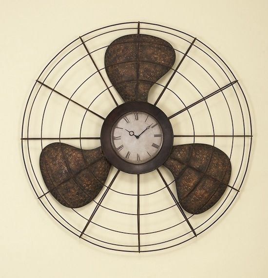 Love it! An old fan upcycled into a stylish wall clock!   #Clock, #Fan, #Upcycled, #Wall