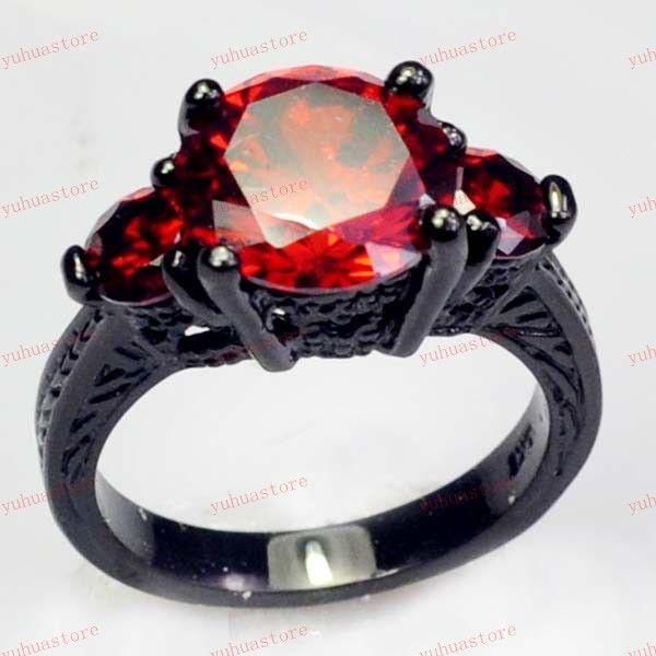 Robijn zwarte gold filled ring 10kt dame vinger ringen voor vrouwen vrouwelijke sieraden maat 6/7/8/9/10 gratis verzending a0306