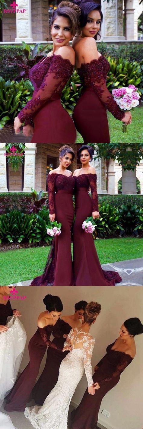 Bridesmaid Dresses Sexy Long Bridesmaid Dress Mermaid Long Sleeve Beaded Lace…