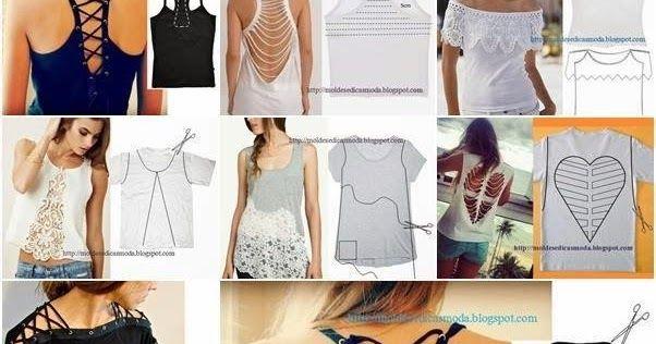 tweede leven voor t-shirt Een paar leuke ideetjes om een eenvoudig t-shirt om te toveren in een uniek kledingstuk.