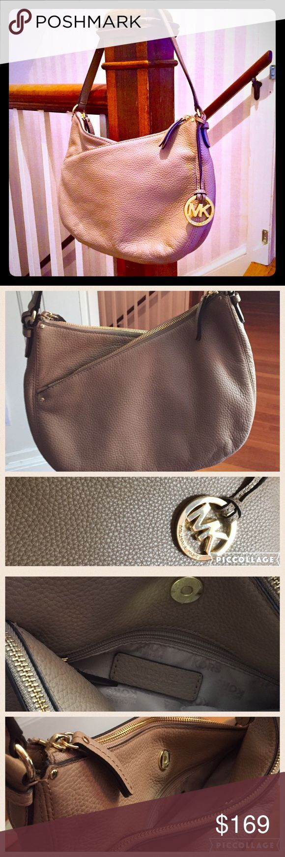 "Michael Kors Lea Convertible Shoulder Bag Beautiful soft leather in a dark nude/blush sort of color by Michael Kors, with a great angled double zipper leading to two separate compartments. The two compartments separate via magnetic snap to reveal an additional middle compartment with a small interior zip pocket. The attached strap has a 9"" drop, and a longer adjustable/detachable strap is included for crossbody wear up to 21"". Hard to find this bag at a low price! 🙌 Michael Kors Bags…"