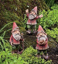 Set of 3 Painted Woodland Gnomes: Gardens Ideas, Design Ideas, Fairies Gardens, Garden Gnomes, Gardens Gnomes, Gnomes Gardens, Woodland Gnomes, Paintings Woodland, Gardens Fairies