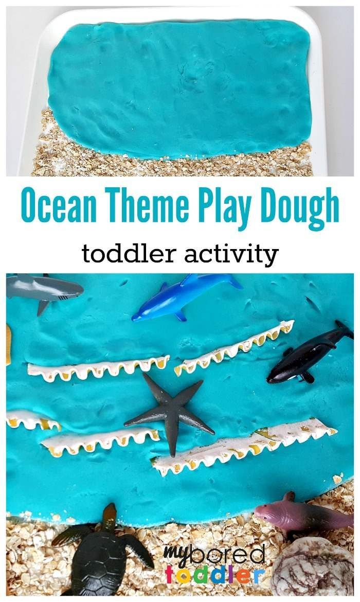 ocean play dough sensory play activity for toddlers, play doh, invitation to play, sensory play for toddlers, toddler activities, fun toddler craft,